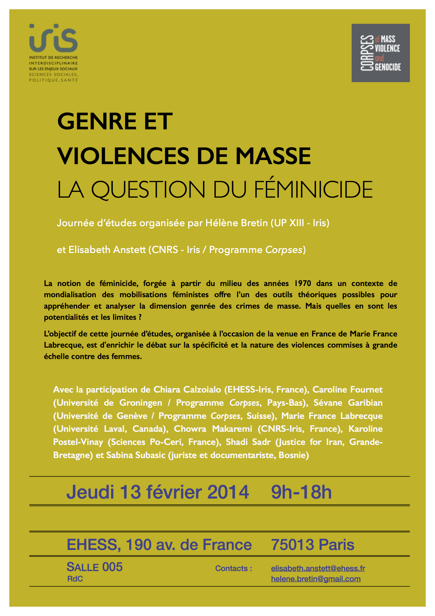 Genre et violences de masse. La question du féminicide > 13 février 2014