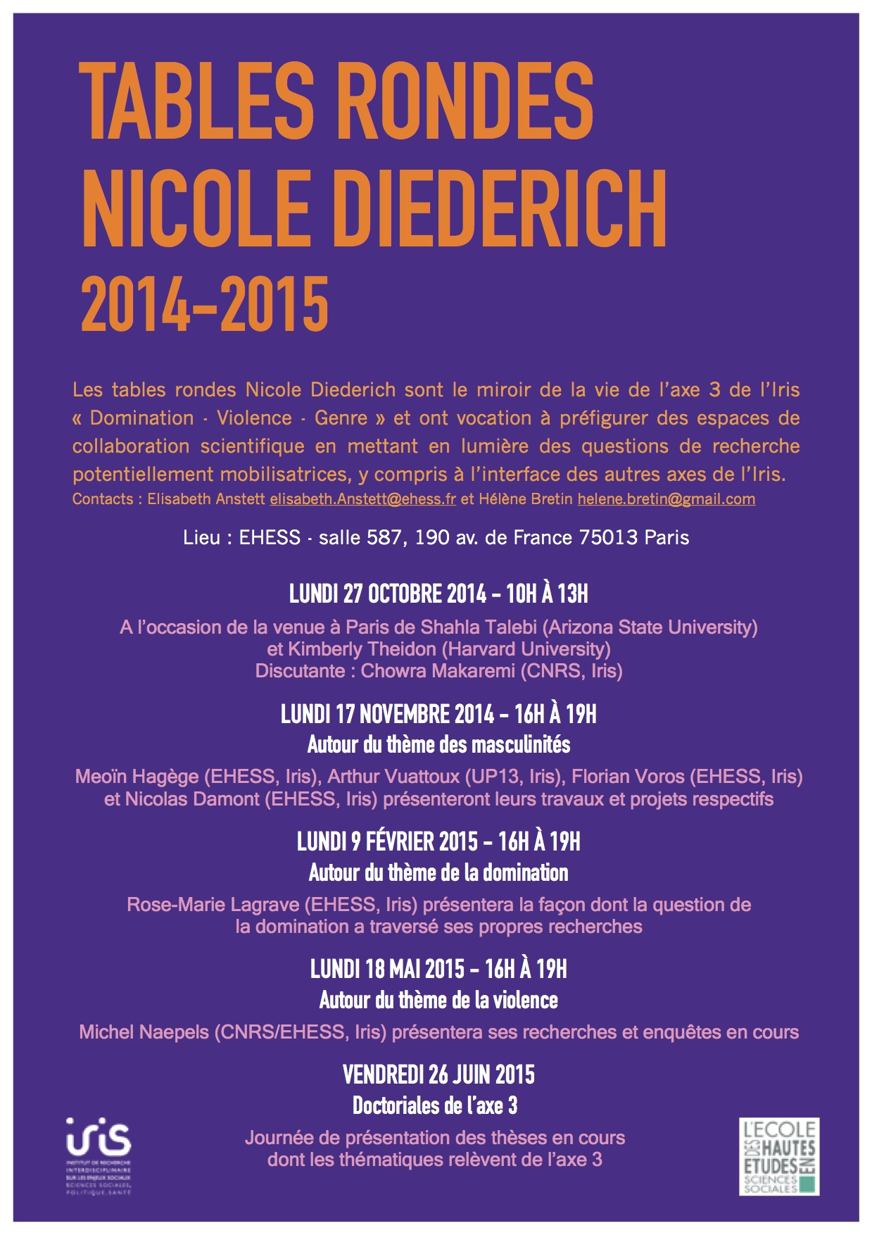 Axe 3 > Tables rondes Nicole Diederich - Programme 2014-2015