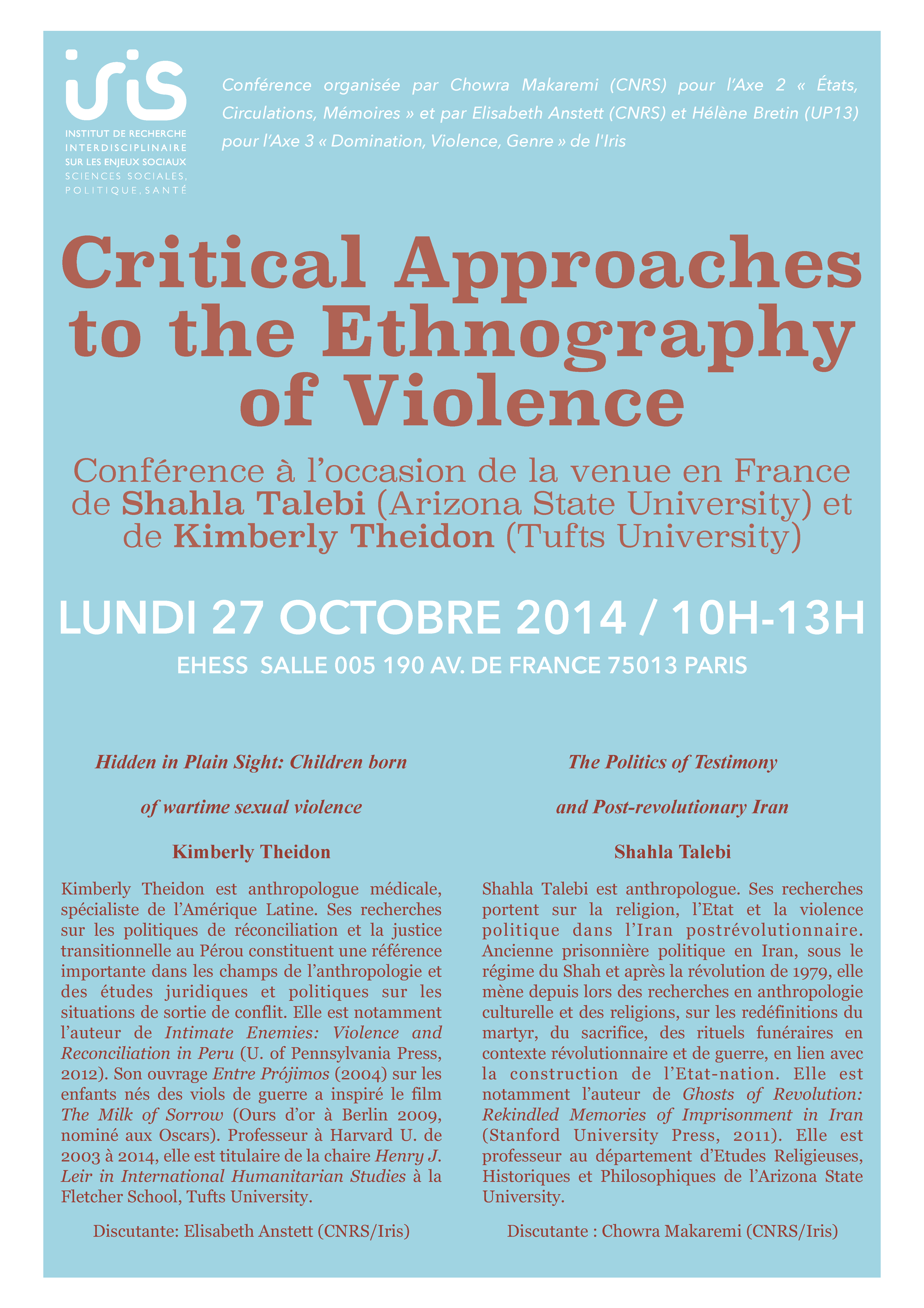 Critical Approaches to the Ethnography of Violence > 27 octobre 2014