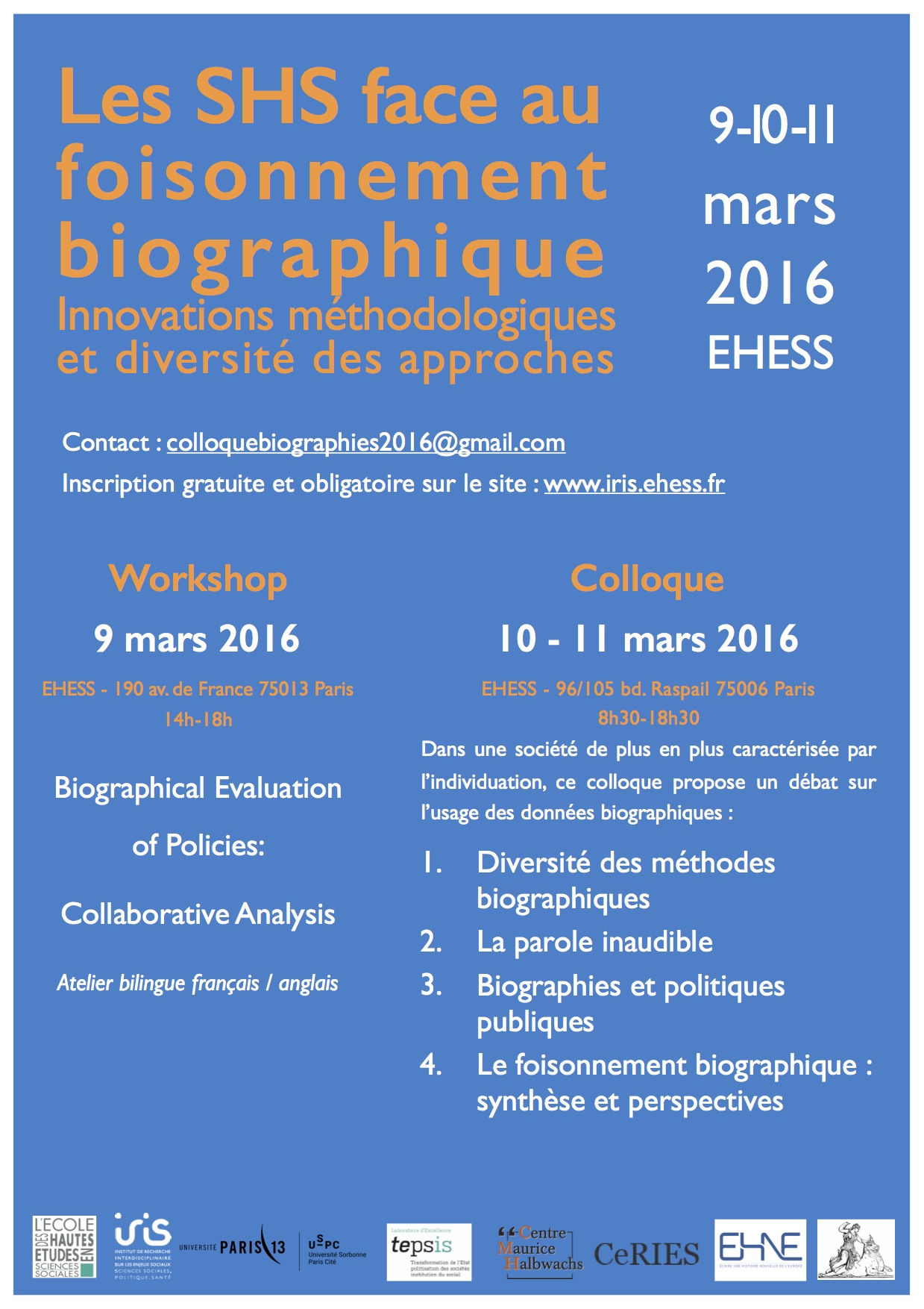 Colloque & Workshop > Les SHS face au foisonnement biographique, 9-11 mars 2016