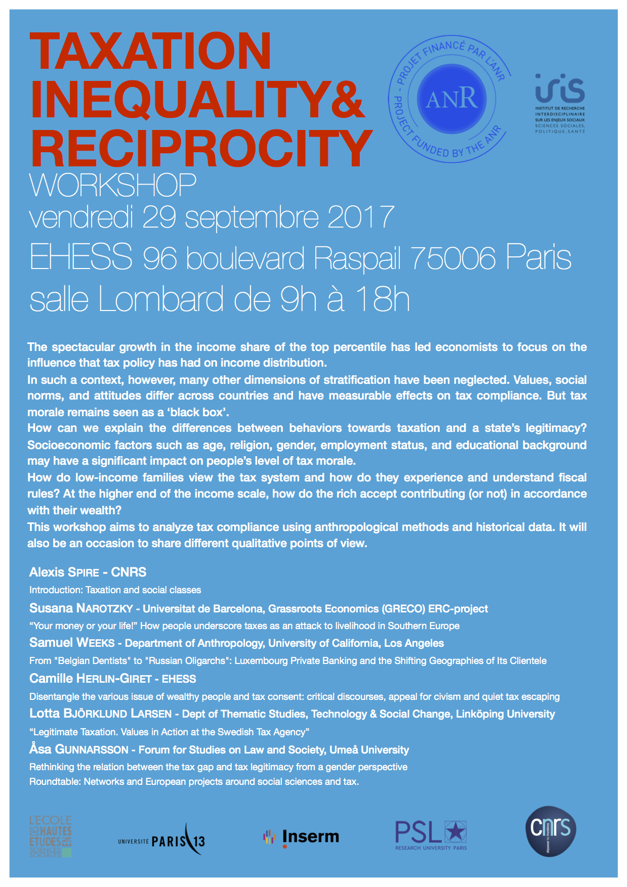 Workshop > Taxation, inequality and reciprocity - 29th September 2017